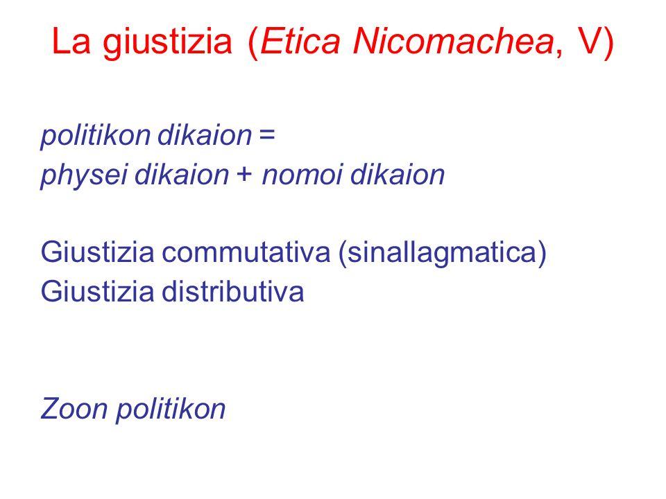 La giustizia (Etica Nicomachea, V) politikon dikaion = physei dikaion + nomoi dikaion Giustizia commutativa (sinallagmatica) Giustizia distributiva Zo
