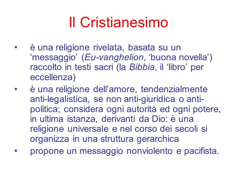 Il Cristianesimo è una religione rivelata, basata su un messaggio (Eu-vanghelion, buona novella) raccolto in testi sacri (la Bibbia, il libro per ecce