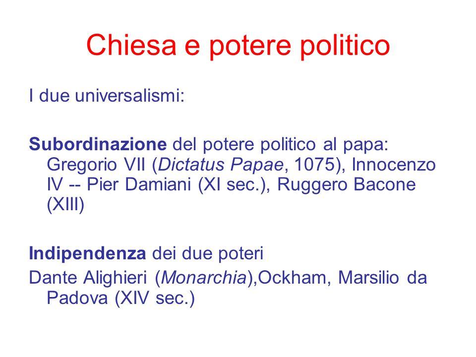 Chiesa e potere politico I due universalismi: Subordinazione del potere politico al papa: Gregorio VII (Dictatus Papae, 1075), Innocenzo IV -- Pier Da