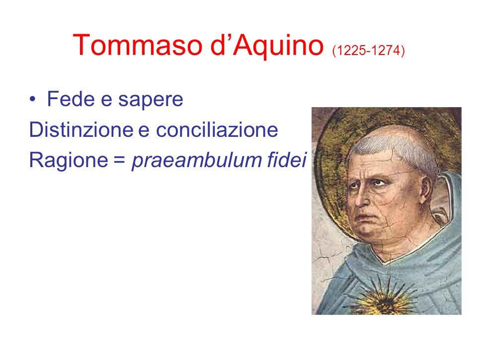 Tommaso dAquino (1225-1274) Fede e sapere Distinzione e conciliazione Ragione = praeambulum fidei