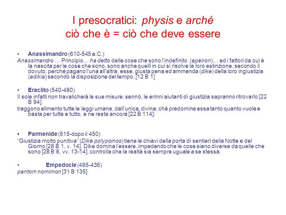 I presocratici: physis e arché ciò che è = ciò che deve essere Anassimandro (610-545 a.C.) Anassimandro … Principio… ha detto delle cose che sono lind