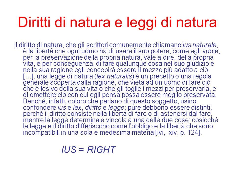 Diritti di natura e leggi di natura il diritto di natura, che gli scrittori comunemente chiamano ius naturale, è la libertà che ogni uomo ha di usare
