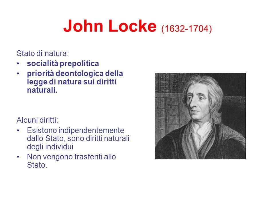 John Locke (1632-1704) Stato di natura: socialità prepolitica priorità deontologica della legge di natura sui diritti naturali. Alcuni diritti: Esisto