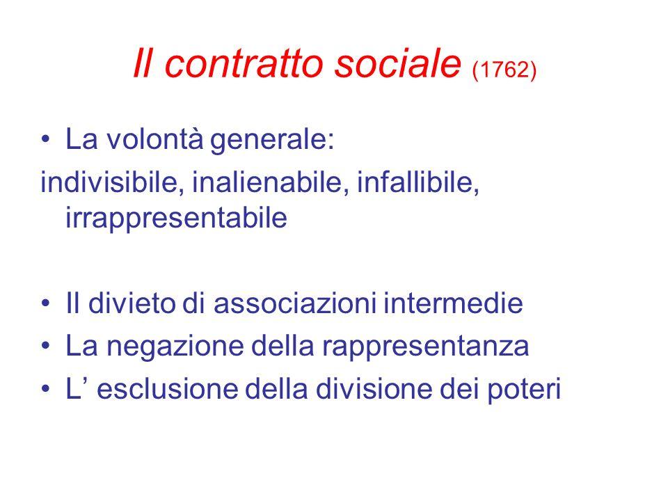 Il contratto sociale (1762) La volontà generale: indivisibile, inalienabile, infallibile, irrappresentabile Il divieto di associazioni intermedie La n