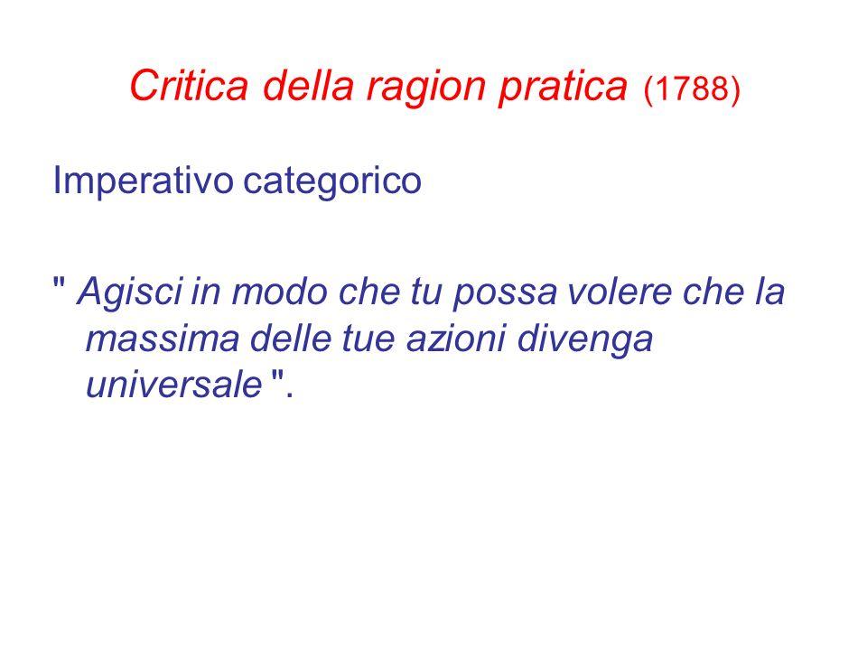 Critica della ragion pratica (1788) Imperativo categorico