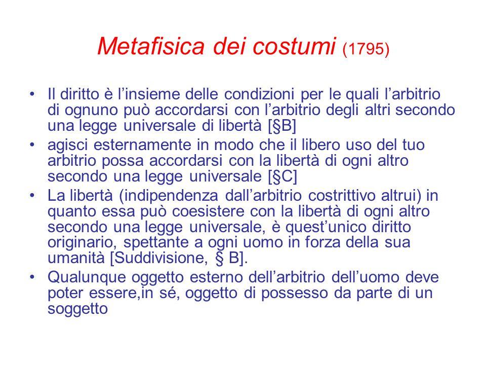 Metafisica dei costumi (1795) Il diritto è linsieme delle condizioni per le quali larbitrio di ognuno può accordarsi con larbitrio degli altri secondo