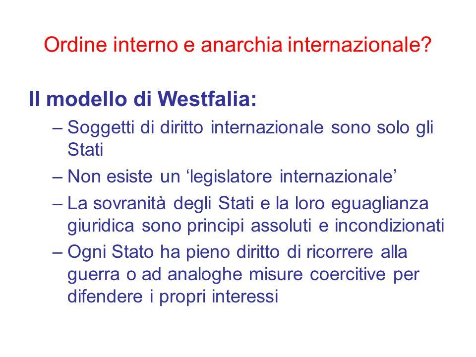 Ordine interno e anarchia internazionale? Il modello di Westfalia: –Soggetti di diritto internazionale sono solo gli Stati –Non esiste un legislatore
