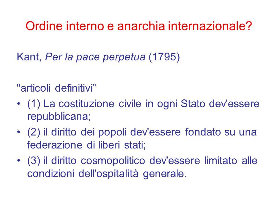 Ordine interno e anarchia internazionale? Kant, Per la pace perpetua (1795)