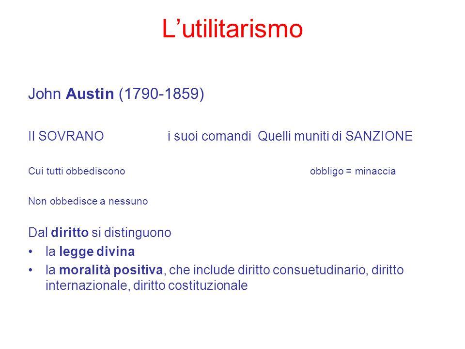 Lutilitarismo John Austin (1790-1859) Il SOVRANOi suoi comandi Quelli muniti di SANZIONE Cui tutti obbediscono obbligo = minaccia Non obbedisce a ness