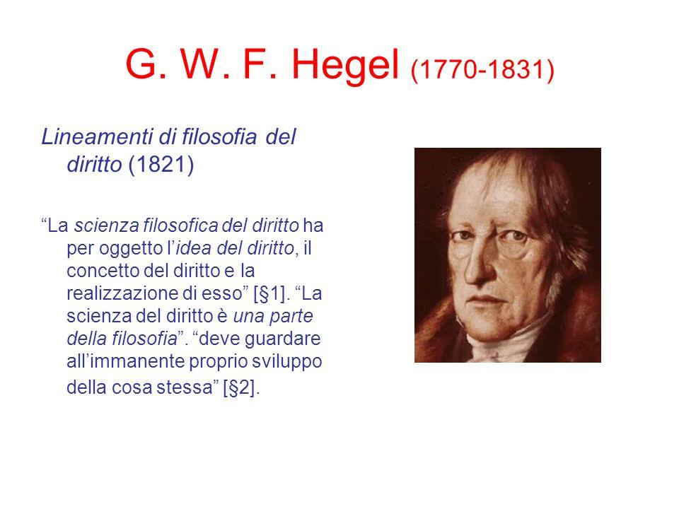 G. W. F. Hegel (1770-1831) Lineamenti di filosofia del diritto (1821) La scienza filosofica del diritto ha per oggetto lidea del diritto, il concetto
