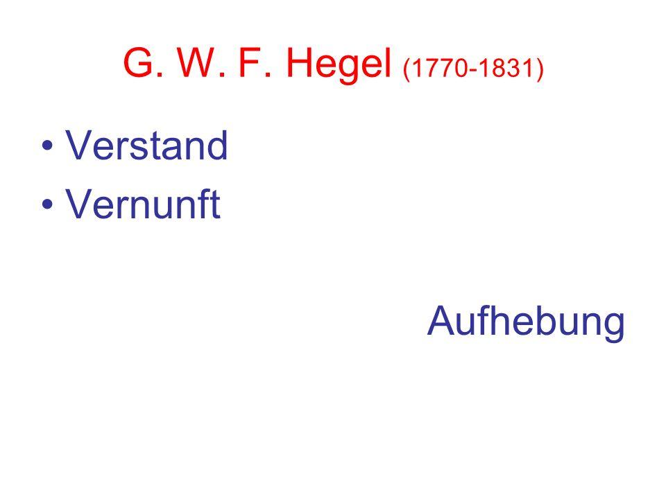 G. W. F. Hegel (1770-1831) Verstand Vernunft Aufhebung