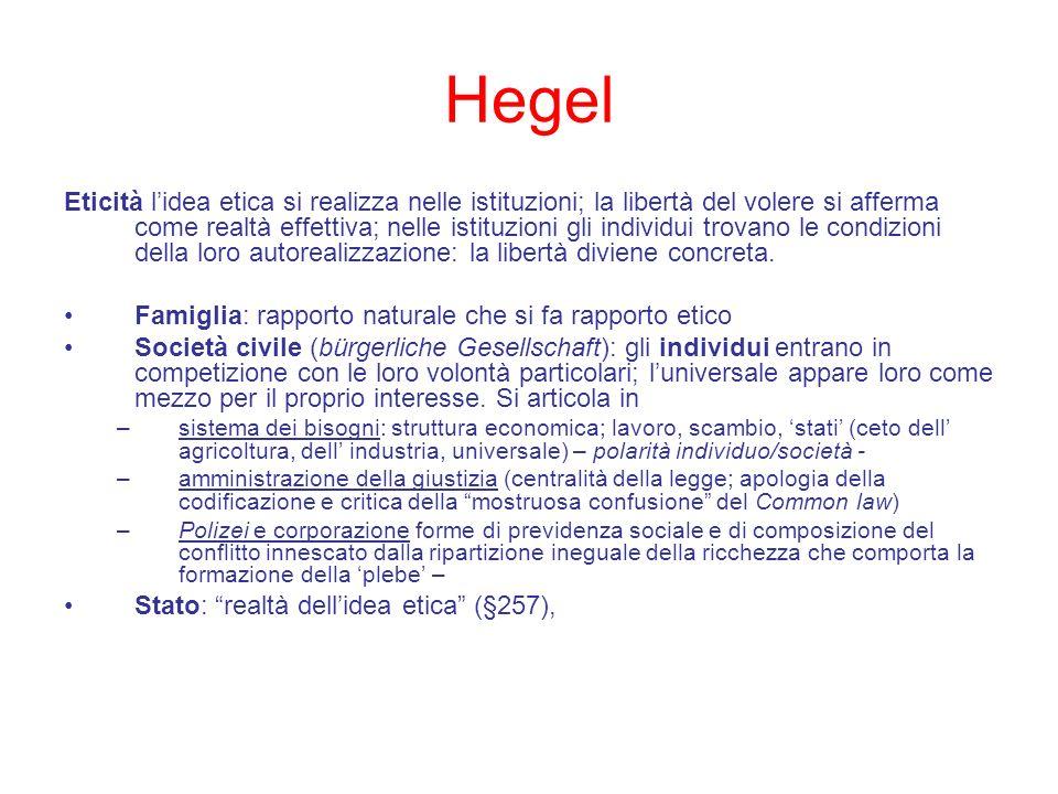 Hegel Eticità lidea etica si realizza nelle istituzioni; la libertà del volere si afferma come realtà effettiva; nelle istituzioni gli individui trova