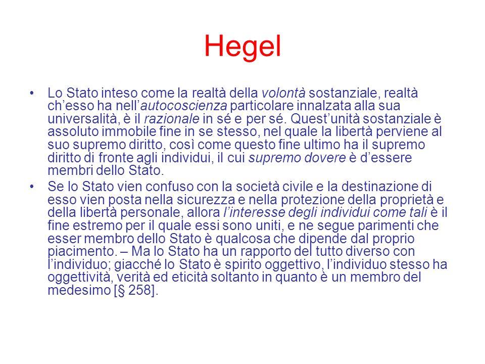 Hegel Lo Stato inteso come la realtà della volontà sostanziale, realtà chesso ha nellautocoscienza particolare innalzata alla sua universalità, è il r
