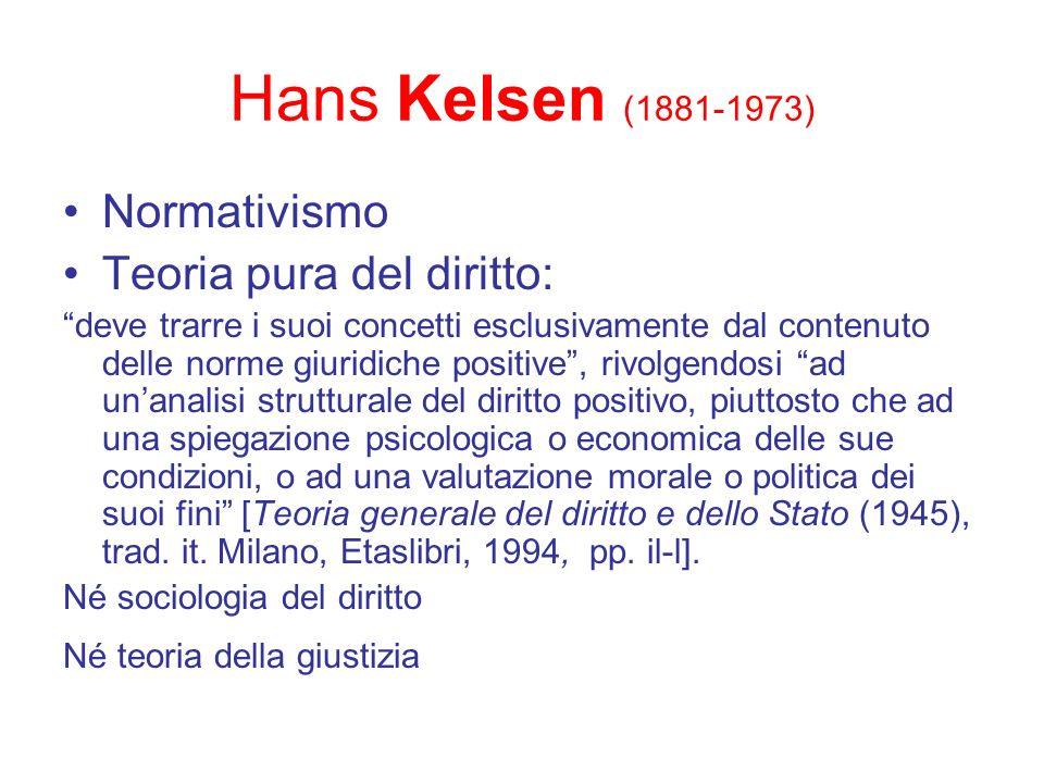 Hans Kelsen (1881-1973) Normativismo Teoria pura del diritto: deve trarre i suoi concetti esclusivamente dal contenuto delle norme giuridiche positive
