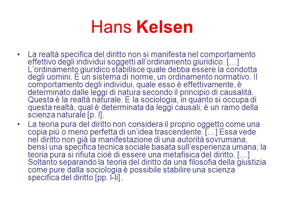 Hans Kelsen La realtà specifica del diritto non si manifesta nel comportamento effettivo degli individui soggetti allordinamento giuridico. […] Lordin