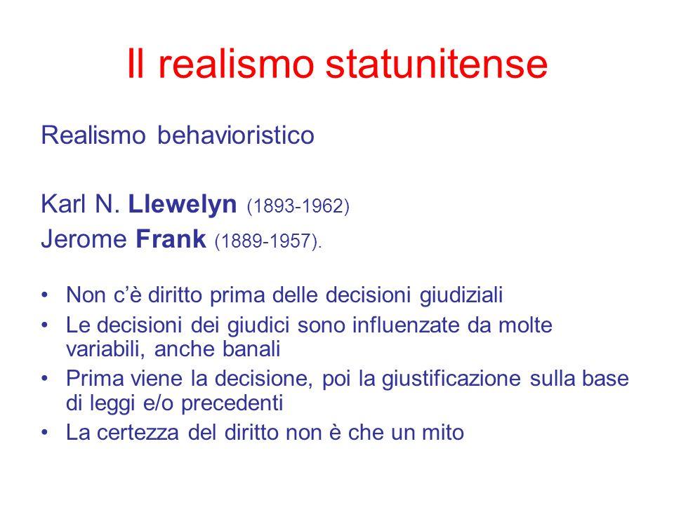 Il realismo statunitense Realismo behavioristico Karl N. Llewelyn (1893-1962) Jerome Frank (1889-1957). Non cè diritto prima delle decisioni giudizial