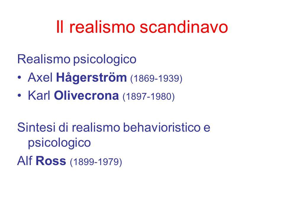 Il realismo scandinavo Realismo psicologico Axel Hågerström (1869-1939) Karl Olivecrona (1897-1980) Sintesi di realismo behavioristico e psicologico A