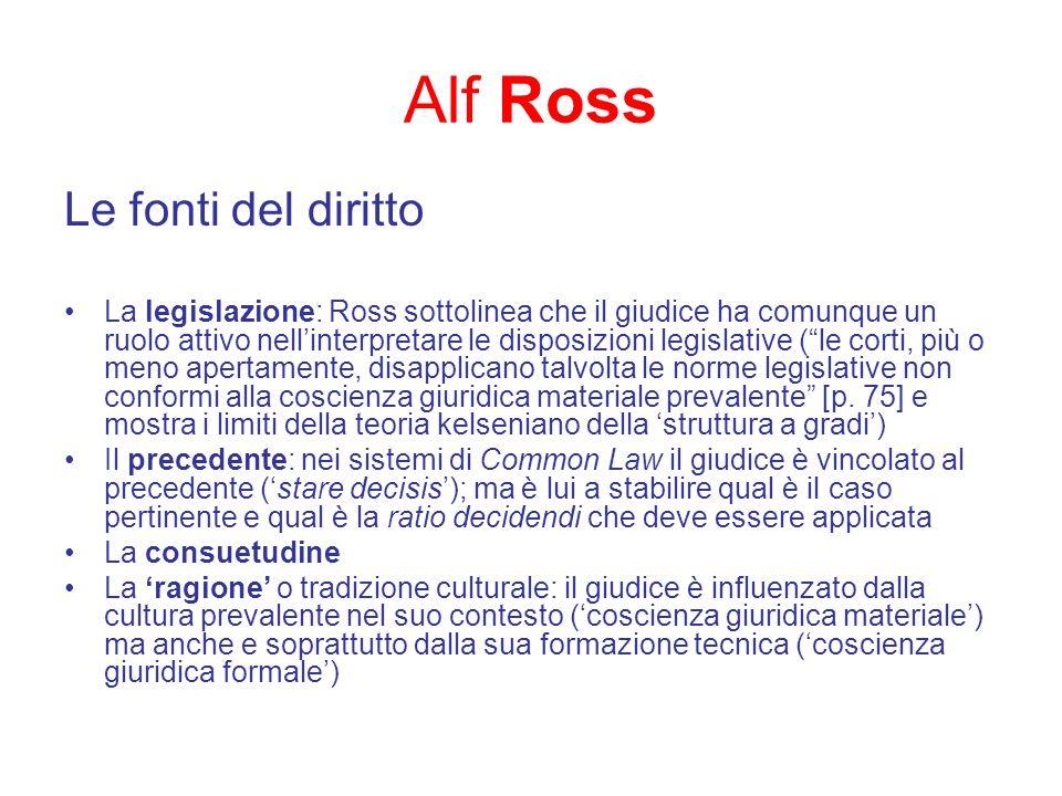 Alf Ross Le fonti del diritto La legislazione: Ross sottolinea che il giudice ha comunque un ruolo attivo nellinterpretare le disposizioni legislative