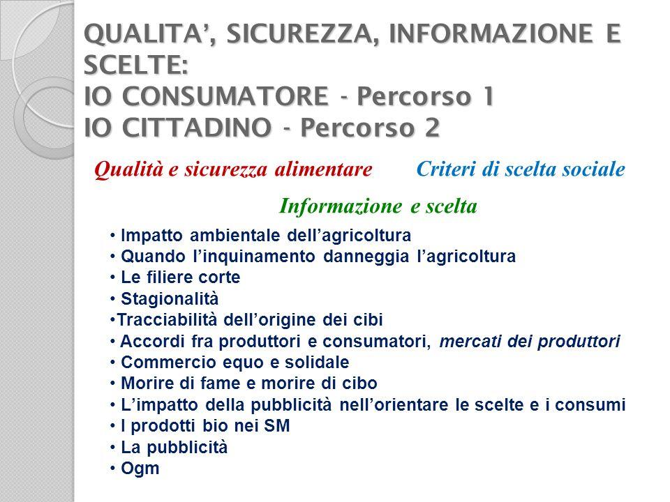 QUALITA, SICUREZZA, INFORMAZIONE E SCELTE: IO CONSUMATORE - Percorso 1 IO CITTADINO - Percorso 2 Qualità e sicurezza alimentare Informazione e scelta
