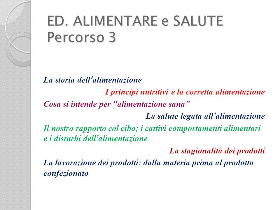 ED. ALIMENTARE e SALUTE Percorso 3 La storia dell alimentazione I principi nutritivi e la corretta alimentazione Cosa si intende per alimentazione san