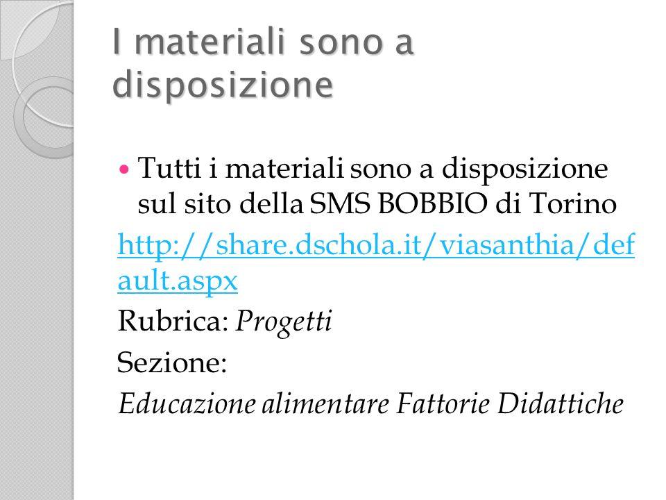 I materiali sono a disposizione Tutti i materiali sono a disposizione sul sito della SMS BOBBIO di Torino http://share.dschola.it/viasanthia/def ault.