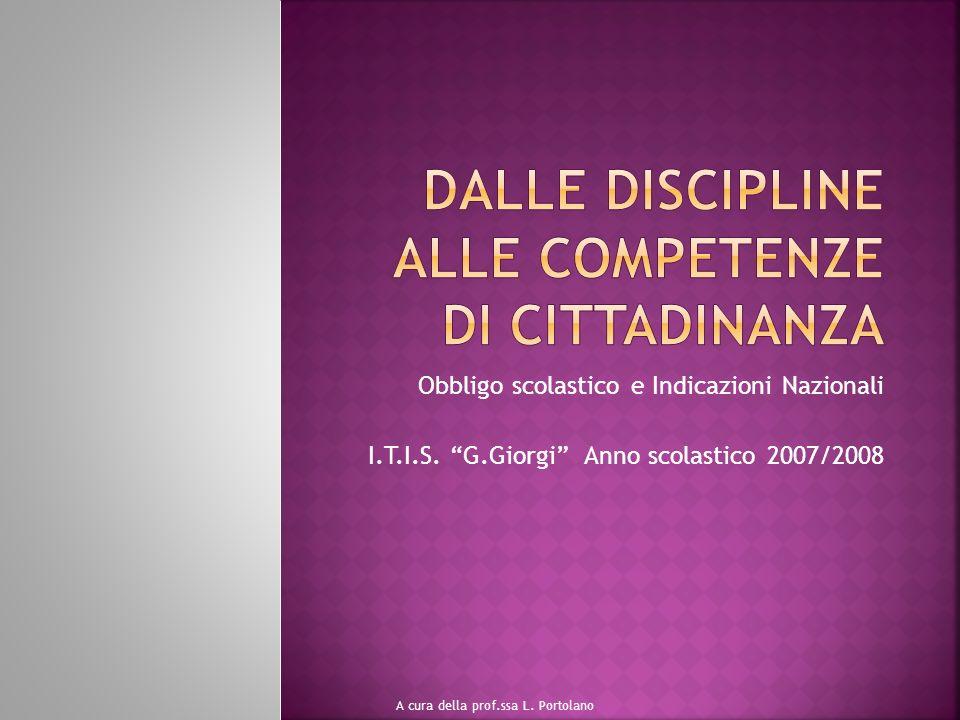 Obbligo scolastico e Indicazioni Nazionali I.T.I.S. G.Giorgi Anno scolastico 2007/2008 A cura della prof.ssa L. Portolano