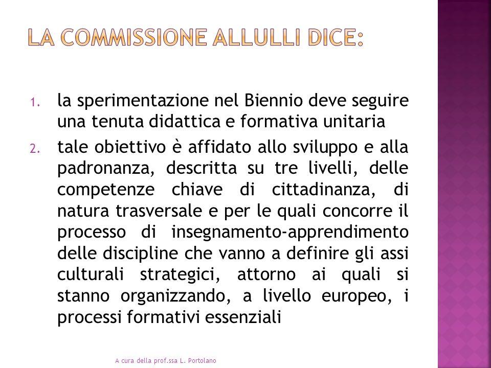 1. la sperimentazione nel Biennio deve seguire una tenuta didattica e formativa unitaria 2. tale obiettivo è affidato allo sviluppo e alla padronanza,