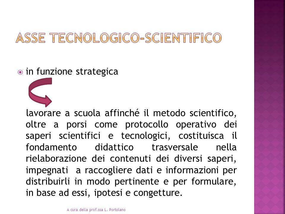 in funzione strategica lavorare a scuola affinché il metodo scientifico, oltre a porsi come protocollo operativo dei saperi scientifici e tecnologici,