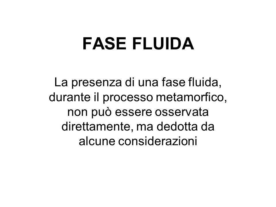 FASE FLUIDA La presenza di una fase fluida, durante il processo metamorfico, non può essere osservata direttamente, ma dedotta da alcune considerazion