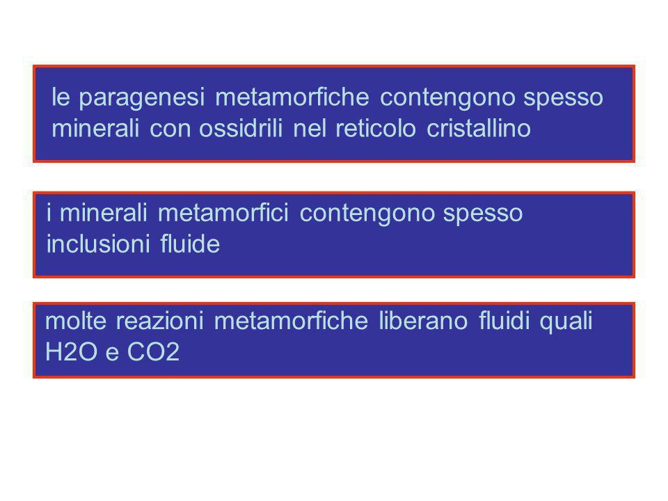 le paragenesi metamorfiche contengono spesso minerali con ossidrili nel reticolo cristallino i minerali metamorfici contengono spesso inclusioni fluid