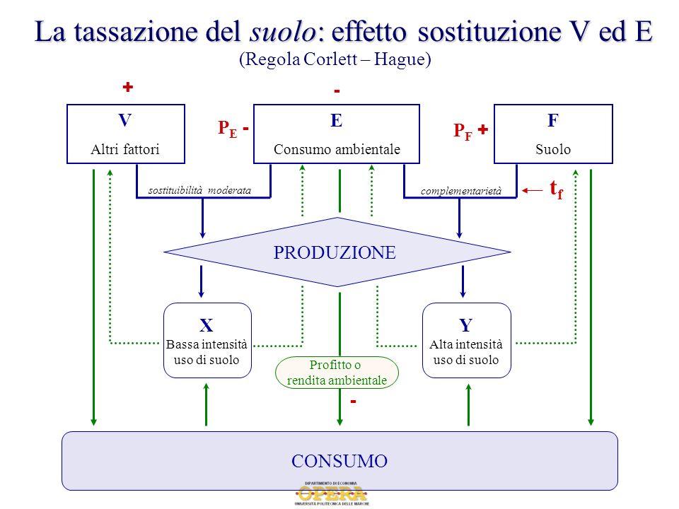 E Consumo ambientale F Suolo complementarietà sostituibilità moderata CONSUMO PRODUZIONE V Altri fattori Profitto o rendita ambientale X Bassa intensi