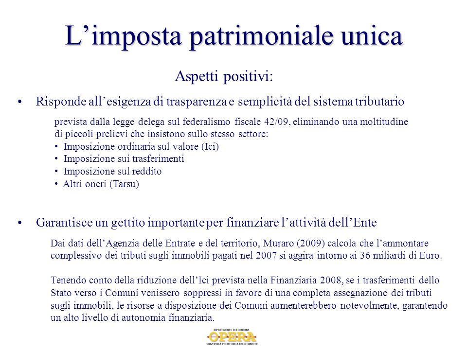 Limposta patrimoniale unica Garantisce un gettito importante per finanziare lattività dellEnte Dai dati dellAgenzia delle Entrate e del territorio, Mu