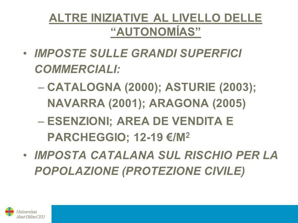 ALTRE INIZIATIVE AL LIVELLO DELLE AUTONOMÍAS IMPOSTE SULLE GRANDI SUPERFICI COMMERCIALI: –CATALOGNA (2000); ASTURIE (2003); NAVARRA (2001); ARAGONA (2