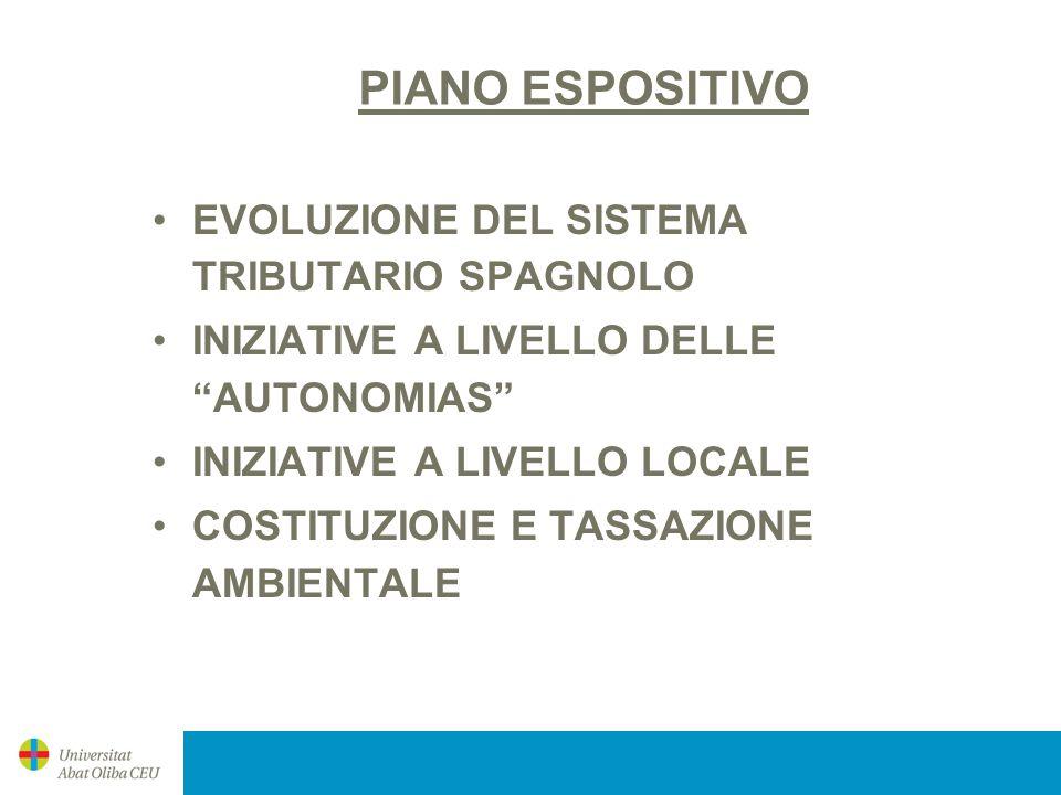 PIANO ESPOSITIVO EVOLUZIONE DEL SISTEMA TRIBUTARIO SPAGNOLO INIZIATIVE A LIVELLO DELLE AUTONOMIAS INIZIATIVE A LIVELLO LOCALE COSTITUZIONE E TASSAZION