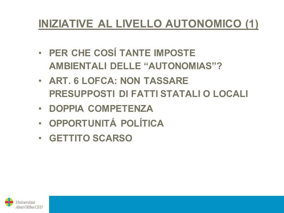 INIZIATIVE AL LIVELLO AUTONOMICO (1) PER CHE COSÍ TANTE IMPOSTE AMBIENTALI DELLE AUTONOMIAS? ART. 6 LOFCA: NON TASSARE PRESUPPOSTI DI FATTI STATALI O