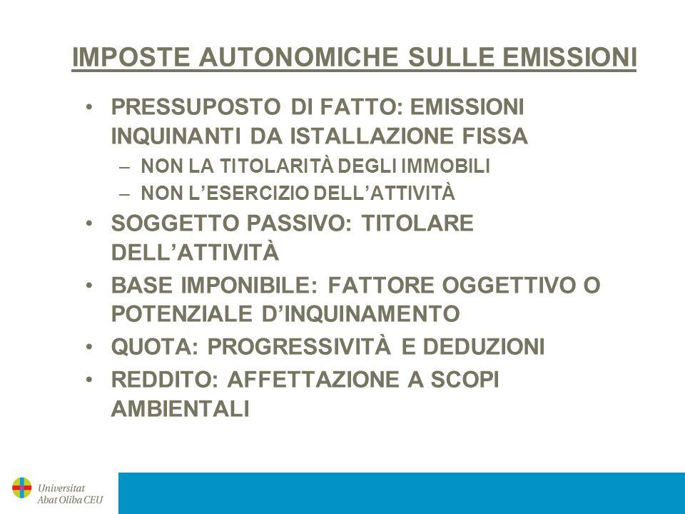 IMPOSTE AUTONOMICHE SULE EMISSIONI (2) GALIZIA (1995) –NO X S0 2 ; 90% 2010; 25% DEL TOTALE –FONDO (5%) CASTIGLIA-LA MANCHA (2000/2005): NO X S0 2 ANDALUSIA (2003): CO 2 ; COMPATIBILITÀ MERCATO DELLE EMISSIONI MURCIA (1995, 2005): DIRETTIVA 2001/81/CE, SENZA CO 2 ARAGONA (2005): CO 2
