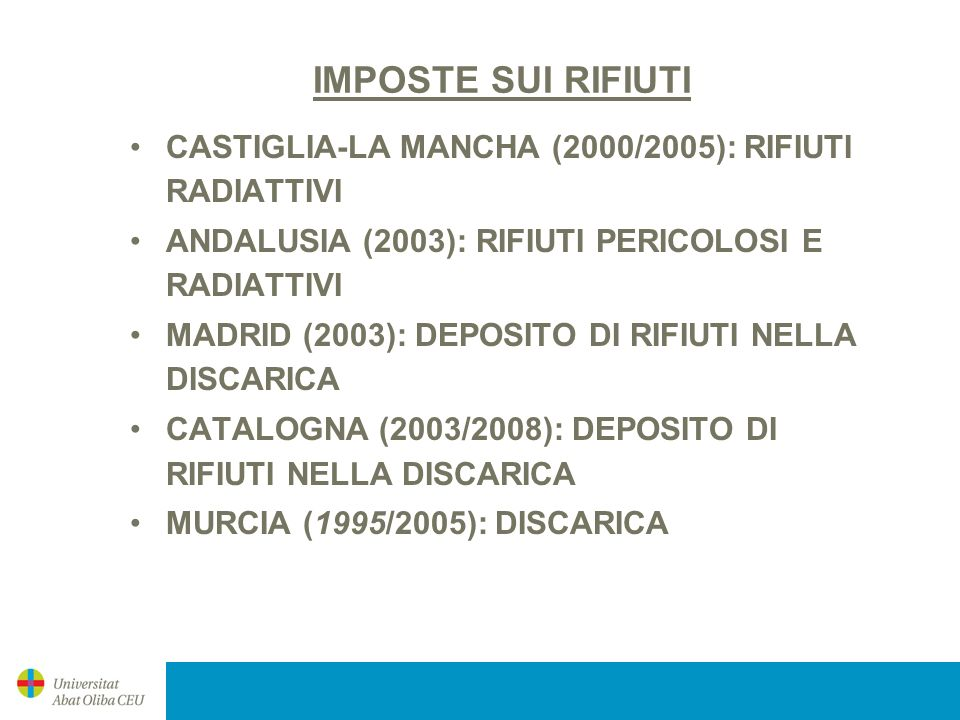 IMPOSTE AUTONOMICHE SULLACQUE SCARICHI NELLE ACQUE LITORALI –ANDALUSIA (1994/2004) –MURCIA (1995/2005) CANONE (IMPOSTE) DI BONIFICA DELLACQUA –ARAGONA (2001) –ASTURIAS (1994/2004) –ISOLE BALEARI (2004) –ISOLE CANARIE (2004) –CATALOGNA (2004) –MADRID (1984) –MURCIA (2002) –NAVARRA (1988) –LA RIOJA (2000) –VALENZA (1992)
