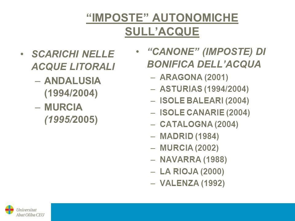 IMPOSTE AUTONOMICHE SULLACQUE SCARICHI NELLE ACQUE LITORALI –ANDALUSIA (1994/2004) –MURCIA (1995/2005) CANONE (IMPOSTE) DI BONIFICA DELLACQUA –ARAGONA