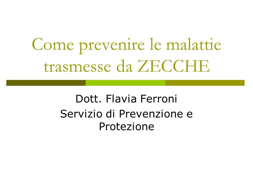 Come prevenire le malattie trasmesse da ZECCHE Dott. Flavia Ferroni Servizio di Prevenzione e Protezione