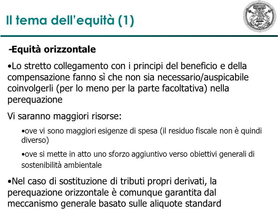 Il tema dellequità (1) -Equità orizzontale Lo stretto collegamento con i principi del beneficio e della compensazione fanno sì che non sia necessario/