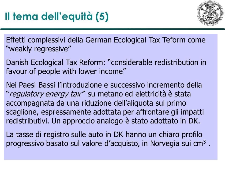 Il tema dellequità (5) Effetti complessivi della German Ecological Tax Teform come weakly regressive Danish Ecological Tax Reform: considerable redist
