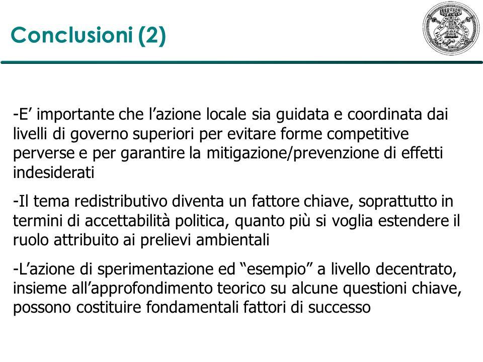 Conclusioni (2) -E importante che lazione locale sia guidata e coordinata dai livelli di governo superiori per evitare forme competitive perverse e pe
