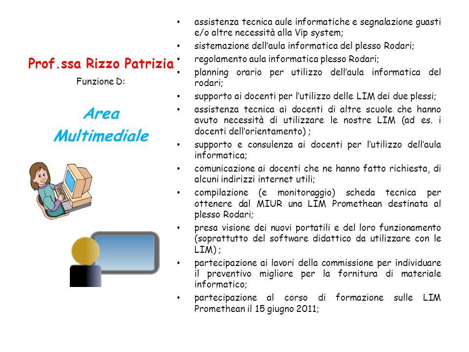 Prof.ssa Rizzo Patrizia assistenza tecnica aule informatiche e segnalazione guasti e/o altre necessità alla Vip system; sistemazione dellaula informat