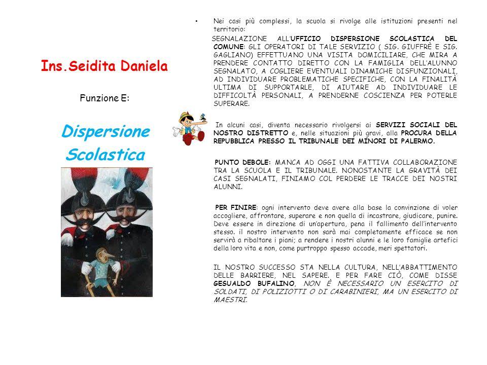 Ins.Seidita Daniela Nei casi più complessi, la scuola si rivolge alle istituzioni presenti nel territorio: SEGNALAZIONE ALLUFFICIO DISPERSIONE SCOLAST
