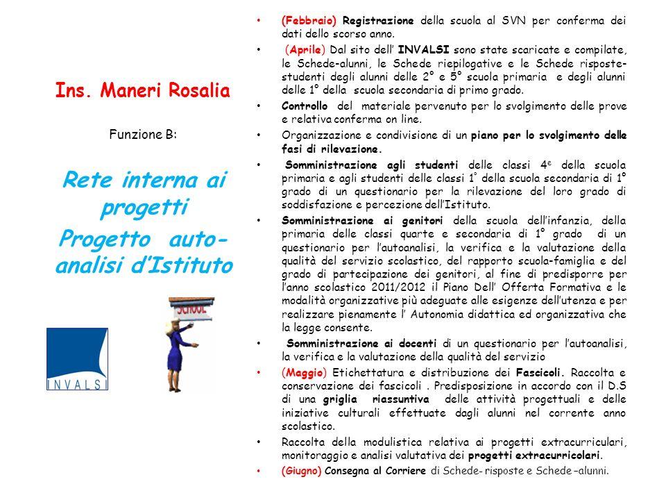 Ins. Maneri Rosalia (Febbraio) Registrazione della scuola al SVN per conferma dei dati dello scorso anno. (Aprile) Dal sito dell INVALSI sono state sc