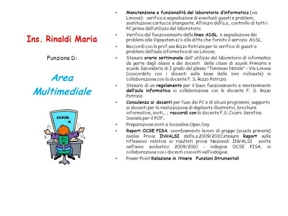 Ins. Rinaldi Maria Manutenzione e funzionalità del laboratorio dinformatica (via Limone): verifica e segnalazione di eventuali guasti e problemi, sost