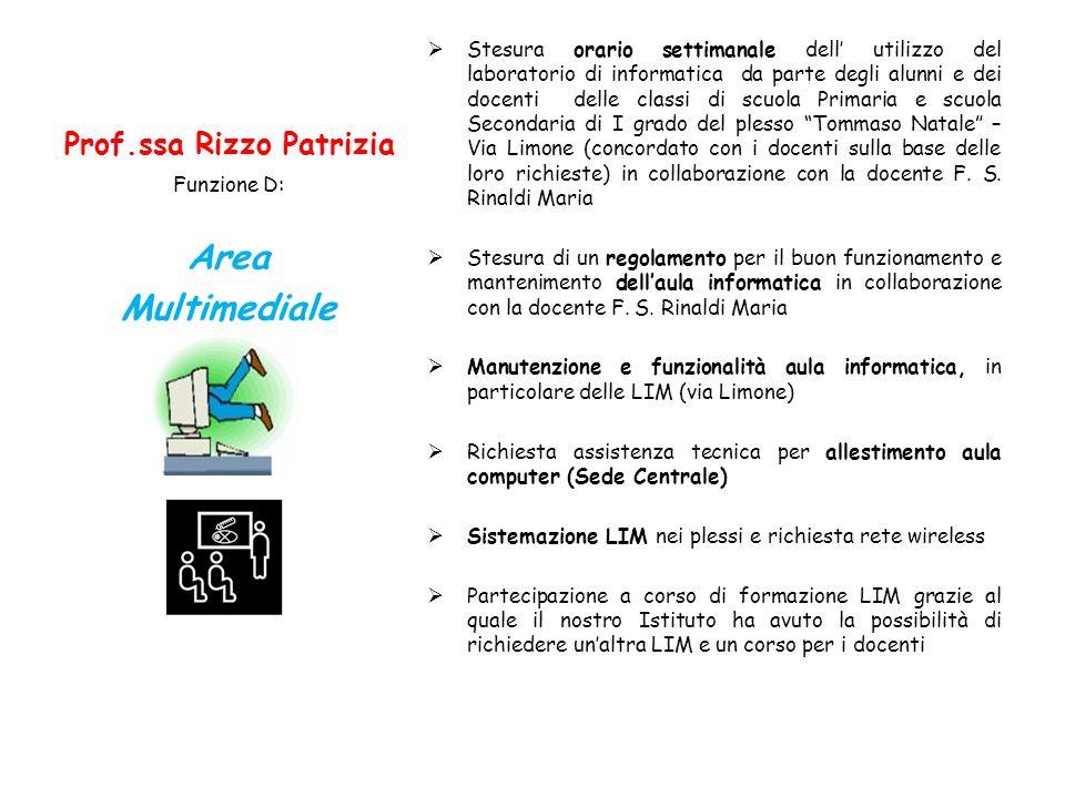 Prof.ssa Rizzo Patrizia Stesura orario settimanale dell utilizzo del laboratorio di informatica da parte degli alunni e dei docenti delle classi di sc