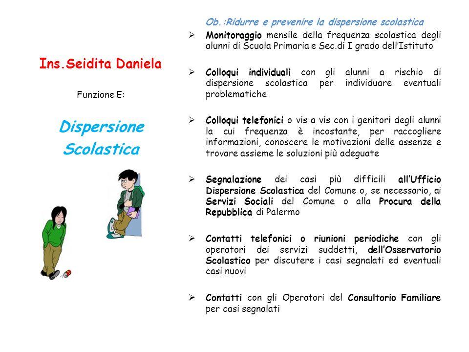 Ins.Seidita Daniela Ob.:Ridurre e prevenire la dispersione scolastica Monitoraggio mensile della frequenza scolastica degli alunni di Scuola Primaria