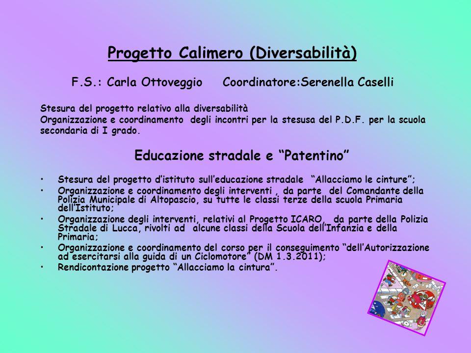 Progetto Calimero (Diversabilità) F.S.: Carla Ottoveggio Coordinatore:Serenella Caselli Stesura del progetto relativo alla diversabilità Organizzazion