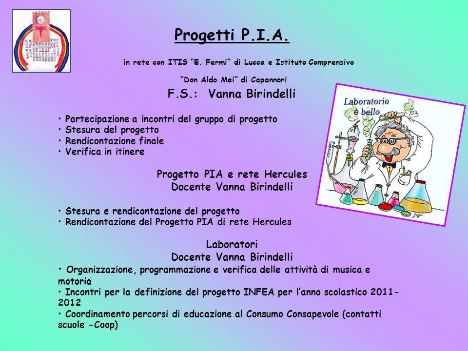 Progetti P.I.A. in rete con ITIS E. Fermi di Lucca e Istituto Comprensivo Don Aldo Mei di Capannori F.S.: Vanna Birindelli Partecipazione a incontri d